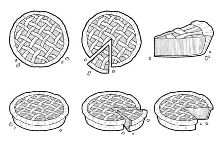 Pie Vector Illustration Hand Drawn Dessert Cartoon Art Illustration
