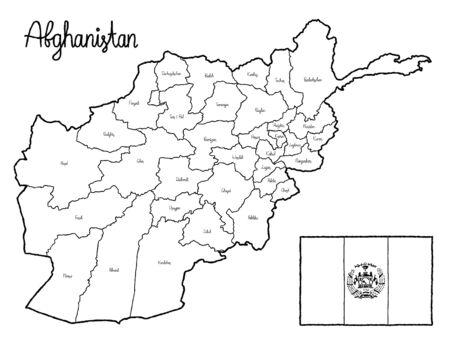 Afghanistan Country Map Flag Vector Illustration Hand Drawn Cartoon Art