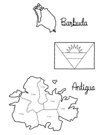 Antigua and Barbuda Country Map Flag Vector Illustration Hand Drawn Cartoon Art