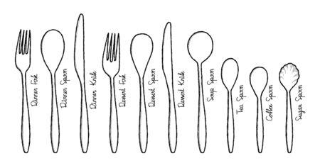 Set of Spoon Vector Illustration Hand Drawn Cartoon Art