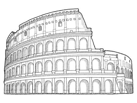 Colosseum, Rome, Italy: Vector Illustration Hand Drawn Landmark Cartoon Art Stock Vector - 125876513