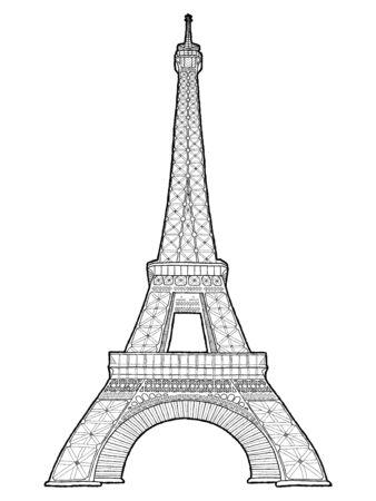 Eiffel Tower, Paris, France: Vector Illustration Hand Drawn Cartoon Art Ilustracje wektorowe