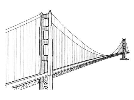 Puente Golden Gate, San Francisco, California y el condado de Marin, California: Ilustración vectorial Dibujado a mano Landmark Cartoon Art Ilustración de vector