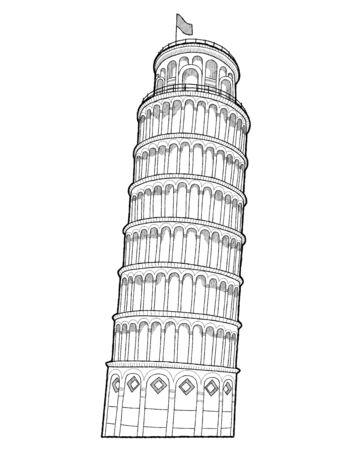 Leaning Tower Of Pisa, Pisa, Italy: Vector Illustration Hand Drawn Cartoon Art