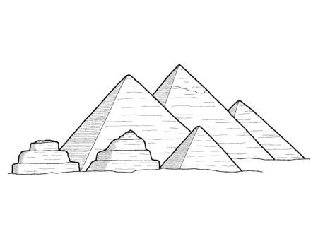 Pyramide de Gizeh, Egypte : Illustration vectorielle Hand Drawn Landmark Art Cartoon Vecteurs