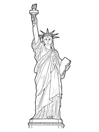 Estatua de la libertad, Liberty Island Manhattan, Nueva York: Ilustración vectorial Arte de dibujos animados dibujados a mano