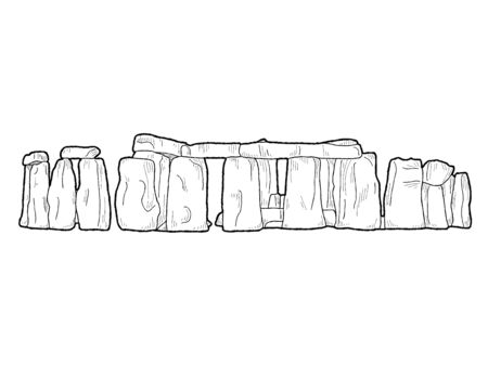 Stonehenge, Wiltshire, England: Vector Illustration Hand Drawn Landmark Cartoon Art