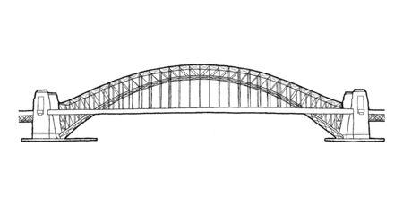 Sydney Harbour Bridge, Sydney, Australie : Landmark Vector Illustration Hand Drawn Cartoon Art
