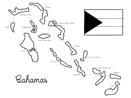 Bahamas Country Map Flag Vector Illustration Hand Drawn Cartoon Art Vetores