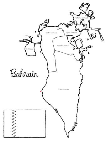 Bahrain Country Map Flag Vector Illustration Hand Drawn Cartoon Art