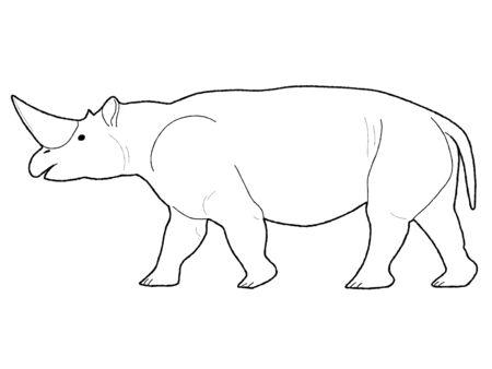 Arsinoitherium Animal Vector Illustration Hand Drawn Cartoon Art
