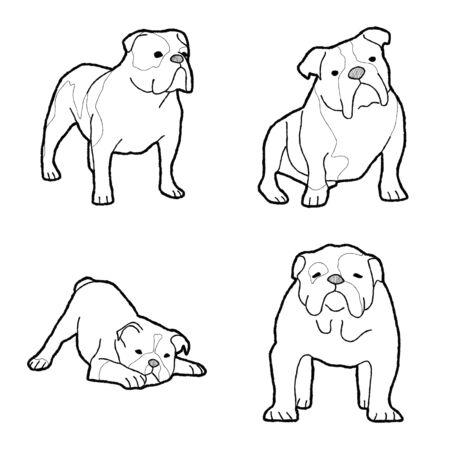 Ilustración Vector Animal Bulldog Arte Dibujos Animados Dibujados A Mano