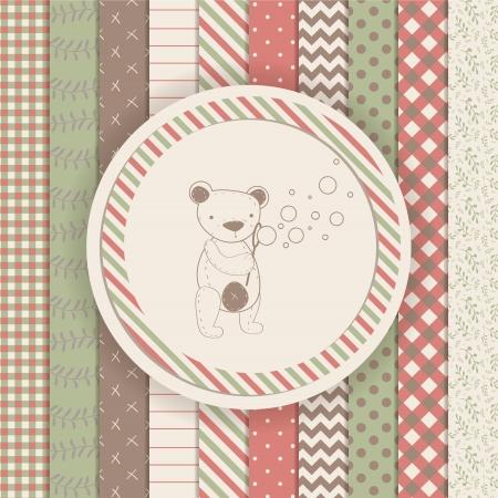 빈티지 디자인 요소 : 스크랩북 테디 베어 컬렉션.