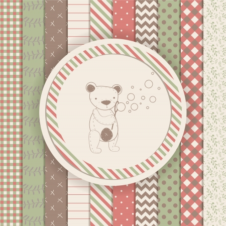 Vintage Design Elements: Scrapbook teddy bear collection. Vector