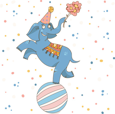 Vector illustration birthday card. The circus elephant is on the ball with a happy smile and a bouquet of flowers. Vector