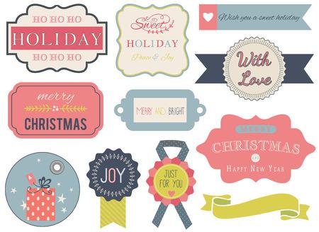 Collezione di ornamenti natalizi ed elementi decorativi, cornici d'epoca, etichette, cartellini, adesivi e nastri.