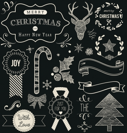 Christmas Hand Drawn Vector Set: Design Elements and Page Decoration, Vintage Ribbon, Laurel, Label on chalkboard background. Vector