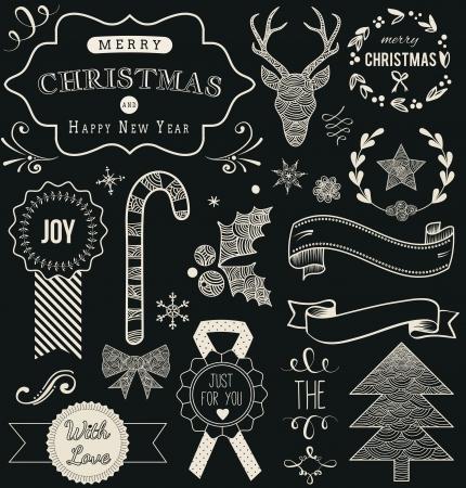 chalkboard: Main De Noël Dessinée ensemble de vecteurs: éléments de design et décoration la page, Vintage ruban, laurier, étiquette sur fond de tableau.