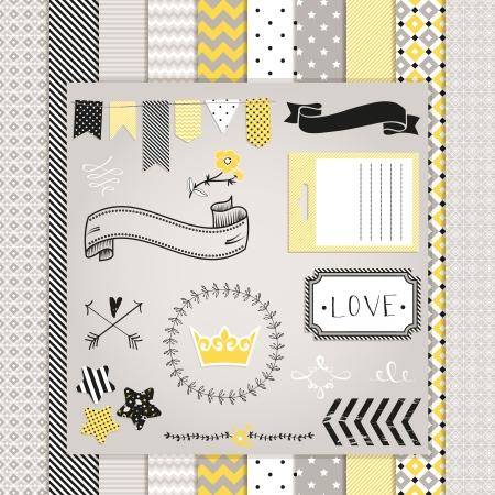회색과 노란색 디자인 요소 : 패턴, 프레임, 리본, 태그, 별, 플래그와 원활한 배경입니다. 디자인 또는 스크랩 예약하십시오. 일러스트
