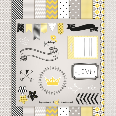 Gray and Yellow Design Elements: pattern, frames, ribbon, tag, star, flag and seamless backgrounds. For design or scrap booking.