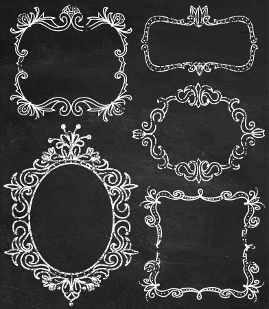 Set of chalk ornamental detailed hand drawn frames illustrations in vector. Chalkboard background.