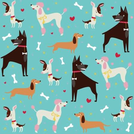 Cute seamless dogs pattern Vector