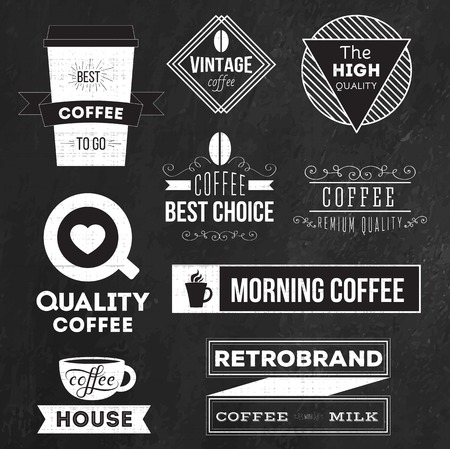 커피 배지, 라벨과 로고 요소 집합 일러스트