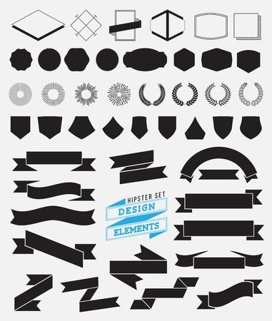 circle shape: Huge set of vintage styled design hipster icons. Illustration