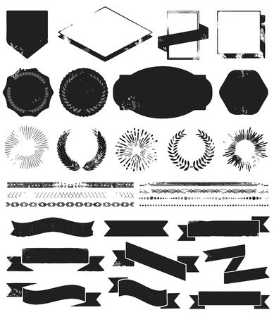 Grunge textured set of vintage styled design Vector