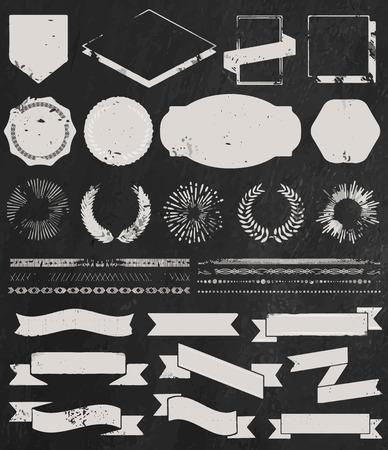 Chalk grunge textured set of vintage hipster icons Vector
