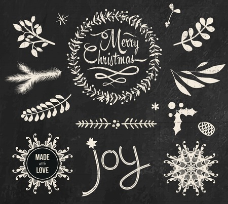 Christmas doodle chalkboard graphic set Vector