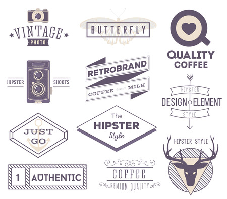 set of vector hipster modern labels, icons, logos isolated on wh Vector