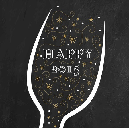 Golden New Year\'s background. Champagne glass