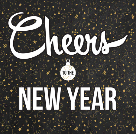 Cheers to the New Year. Golden background. Vector