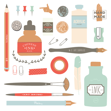 Vintage vector art tools - pens, ink, tag, stamps, brushes, pin. Illustration