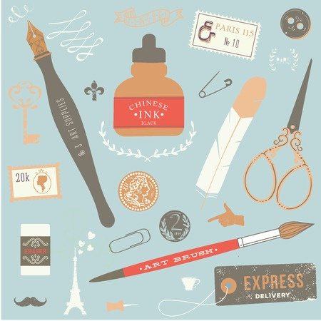 vintage art: Vintage vector art tools - ink, fountain pen, tag, stamps, brush, pin