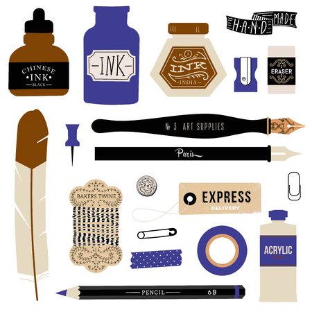 pencil drawing: Vintage vector art tools - ink, fountain pe, tag, stamps, brush, pin