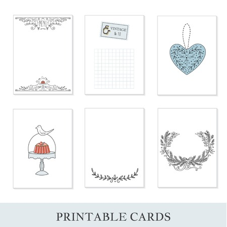 cute cards: Cooking cards, notes, stickers, labels, tags with cute decorative illustrations. Template for scrapbooking, wrapping, notebooks, notebook, diary, decals. Sweets and childrens party printable cards.