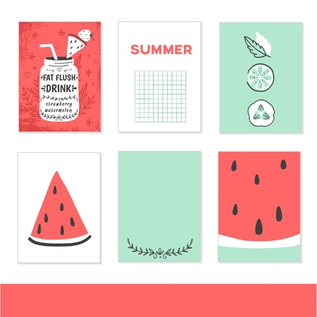 detox: Cooking cards, notes, stickers, labels, tags with cute decorative illustrations. Template for scrapbooking, wrapping, notebooks, notebook, diary, decals, school accessories. Detox and healthy life.