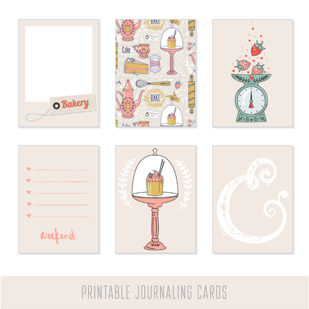 cake stand: Set of 6 creative journaling cards. Cooking, baking and sweets. Illustration