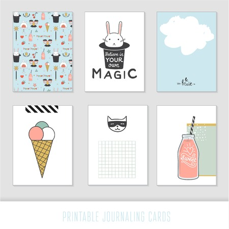 Cooking cards, notes, stickers, labels, tags with cute decorative illustrations. Template for scrapbooking, wrapping, notebooks, notebook, diary, decals. Sweets and childrens party printable cards.