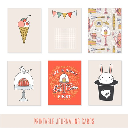 dessert stand: Romantic sweet cards, notes, stickers, labels, tags with cute decorative illustrations. Template for scrapbooking, wrapping, notebooks, notebook, diary, decals, school accessories.