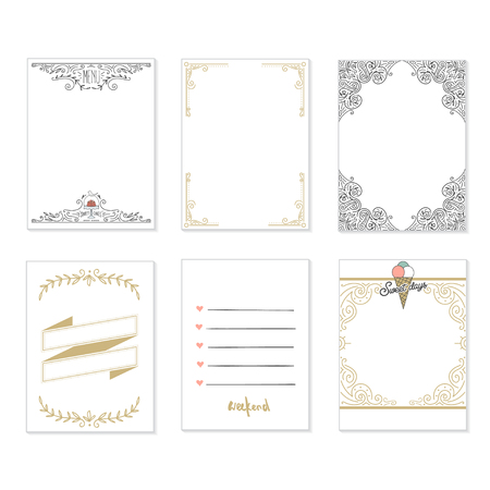 Cooking cards, notes, stickers, labels, tags with cute decorative illustrations. Template for scrapbooking, wrapping, notebooks, notebook, diary, decals. Party and wedding printable cards. Illustration