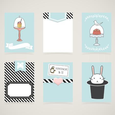 lindo: Tarjetas de cocina, notas, pegatinas, etiquetas, etiquetas con lindas ilustraciones decorativas. Plantilla para scrapbooking, embalaje, cuadernos, cuaderno, diario, calcoman�as. Dulces y fiesta tarjetas imprimibles para ni�os.