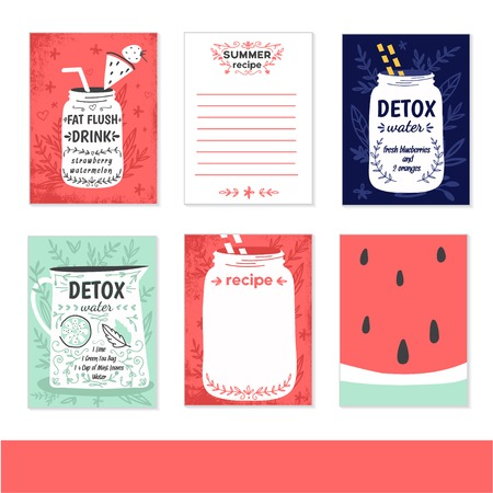 paper note: Cooking cards, notes, stickers, labels, tags with cute decorative illustrations. Template for scrapbooking, wrapping, notebooks, notebook, diary, decals, school accessories. Detox and healthy life.
