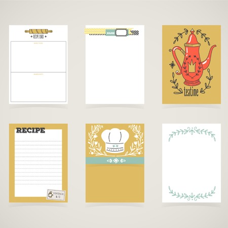 Cooking cards, notes, stickers, labels, tags with cute decorative illustrations. Template for scrapbooking, wrapping, notebooks, notebook, diary, decals, school accessories.