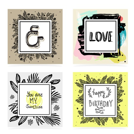 yellow flowers: Set of hand lettering quotes. Floral textured frame. Greeting card template.