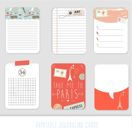 notepads: Journaling cards, notes, stickers, labels, tags with cute decorative illustrations. Template for scrapbooking, wrapping, notebooks, notebook, diary, decals.