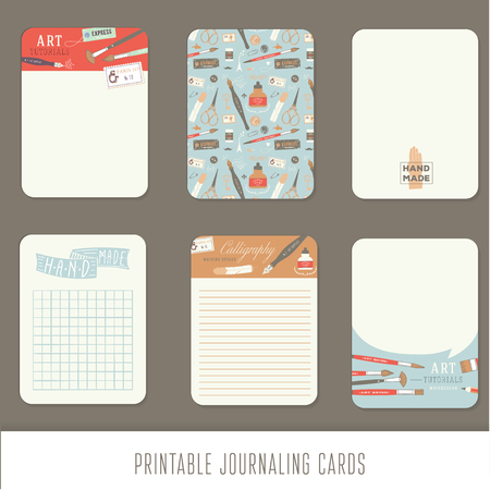 diary: Journaling cards, notes, stickers, labels, tags with cute decorative illustrations. Template for scrapbooking, wrapping, notebooks, notebook, diary, decals. Vintage vector art tools.