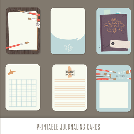 Journaling cards, notes, stickers, labels, tags with cute decorative illustrations. Template for scrapbooking, wrapping, notebooks, notebook, diary, decals. Vintage vector art tools.